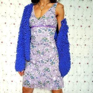Y2K Floral Lavender Lace Print Mini Dress